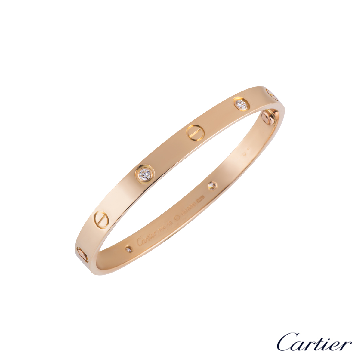 Cartier Love Bracelet Half Diamond Rose Gold Size 18 B6036018